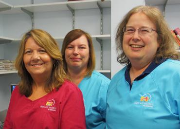 Three Chapel Hill Pediatrics nurses standing together